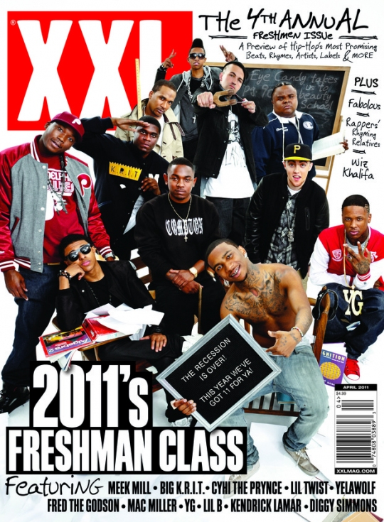 xxl freshmen cover 2011 xxl freshmen includes fred the godson diggy simmons. Black Bedroom Furniture Sets. Home Design Ideas