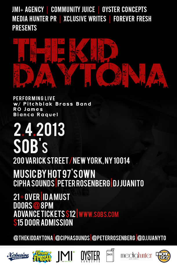 The Kid Daytona - SOBs concert - Ticket giveaway