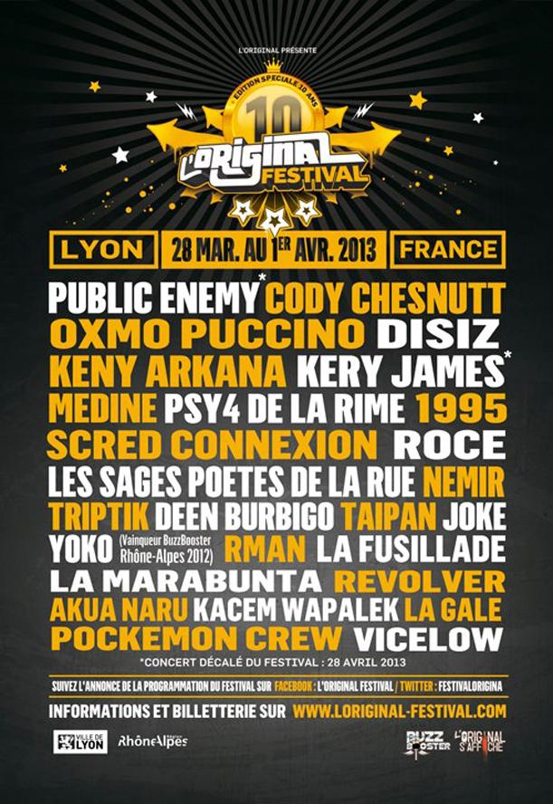 lineup L'Original Hip Hop Festival