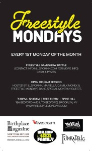 Freestyle Mondays Live Band Freestyle Gameshow Battle & Open Mic + @iLLSpokinn returns! @ Spike Hill | New York | United States