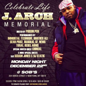 J. Arch Memorial Event at @SOBs - Hosted by @PoisonPenBK ft. @ImmortalTechnique @SeanPrice & more @ SOBs | New York | New York | United States
