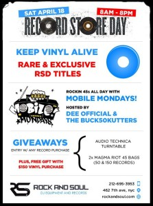 Record Store Day at @DJRockandSoul (w/@MobileMondays) @ Rock and Soul | New York | New York | United States