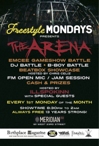Freestyle Mondays Presents: THE ARENA - Emcee/DJ/B-Boy Battle & Beatbox Showcase (@FStyleMondaysNY) @ Meridian 23 | New York | New York | United States