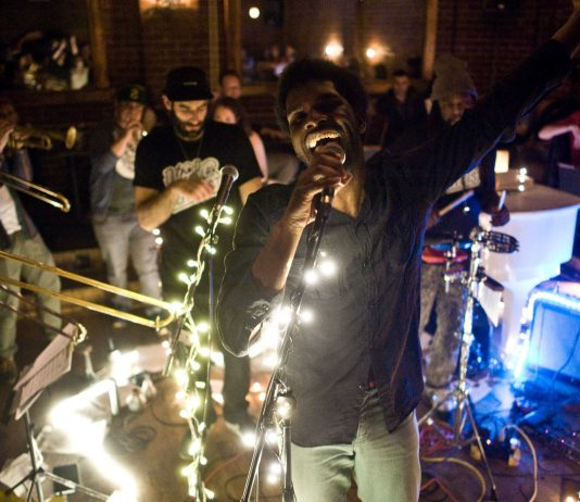 J.Hoard with the PitchBlak Brass Band